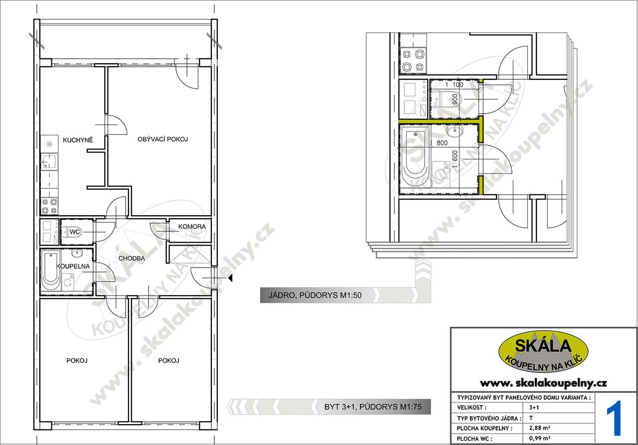 Půdorysy panelových bytů 2+1